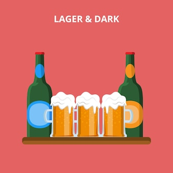 Beer types. lager and dark glasses bottle concept web site  illustration.