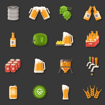 Beer vector flat icons. oktoberfest german festival symbols