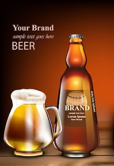 Beer vector realistic mock up. product packaging mock up. glass bottle and mug. template d