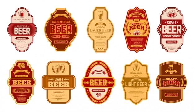 Пивные старинные этикетки. ретро значки пивоваренного завода пива, банка лагера ремесла спирта винтажная или комплект иллюстрации символов бутылки. старая этикетка пива, надписи премиум типографии