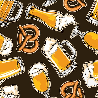 Beer vintage seamless pattern with pretzel cups and mugs of foamy fresh drink