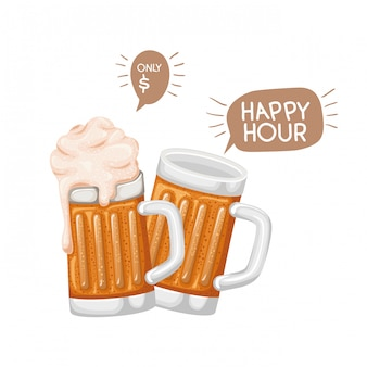 Beer with foam isolated icon