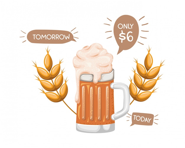 Beer with foam and wheat isolated icon