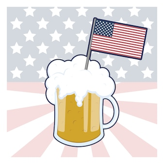 Beer with usa flag background