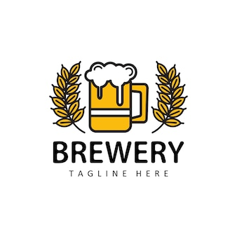 Beer with wheat logo illustration template design vector in isolated background for brewery, cafe, restaurant, pub, bar
