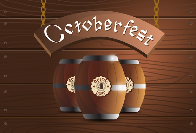Beer wooden barrel oktoberfest festival banner