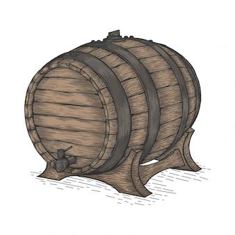 Beer wooden barrel
