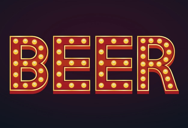 Beer word sign marquee light bulb vintage