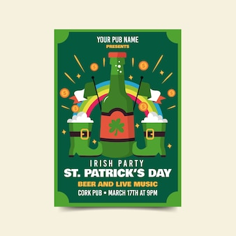 Beers and boots of luck st. patrick's day flyer