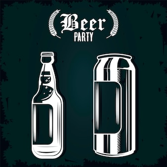 Beers bottle and can drinks drawn isolated icons illustration design