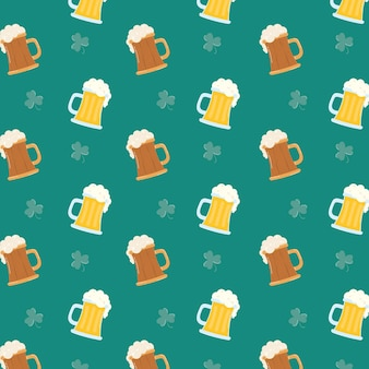Beers and clovers leafs pattern background  illustration