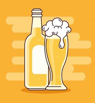 Пиво в бутылке и стакан, на желтом фоне