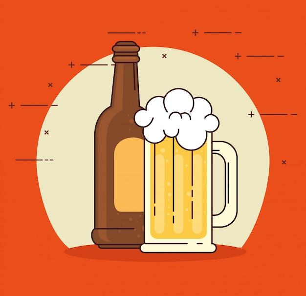 Пиво в бутылке и кружка стекла на красном фоне
