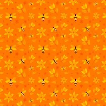 ミツバチと花のシームレスパターンコレクション