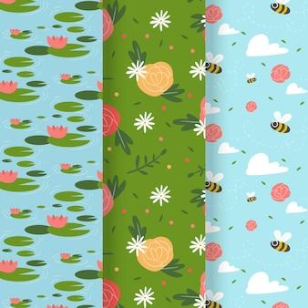 蜂と花のシームレスな春のパターン