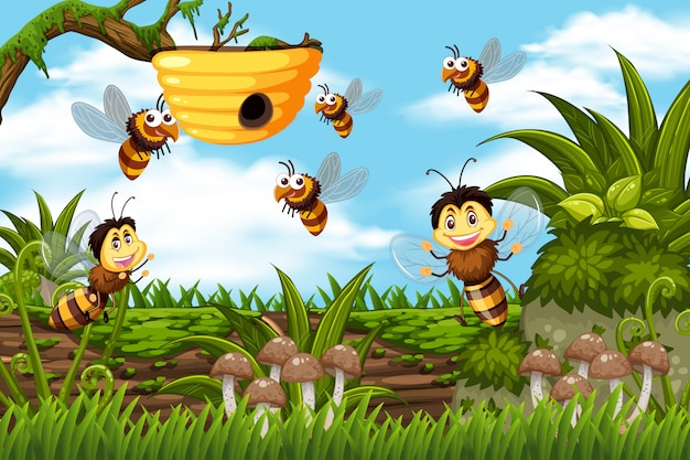 Bees and beehive in jungle scene