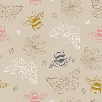 Bees and butterflies seamless pattern