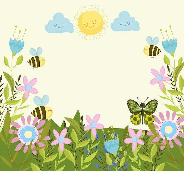 꽃에 꿀벌 나비