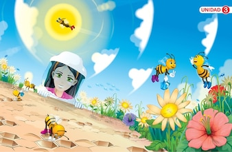 Bees cartoon scene
