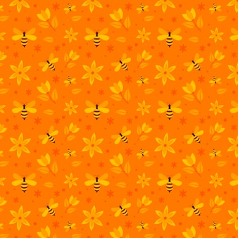 Bees and flowers seamless pattern collection