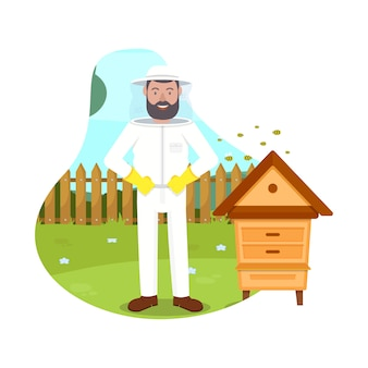 Bees fly near beekeeper. beehive in apiary. illustration