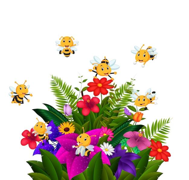 いくつかの花の上を飛ぶミツバチ