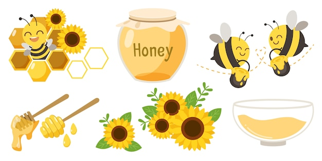 Bees, honey jars and flower set