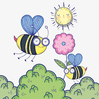 Bees insects animals with flower and sun
