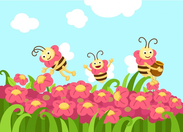 Bees looking for foods vector