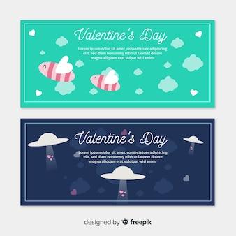 Banner di san valentino api e ovini