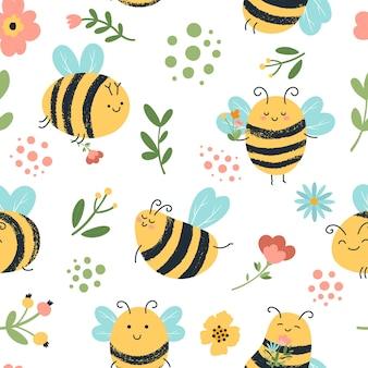 Bees seamless pattern illustration