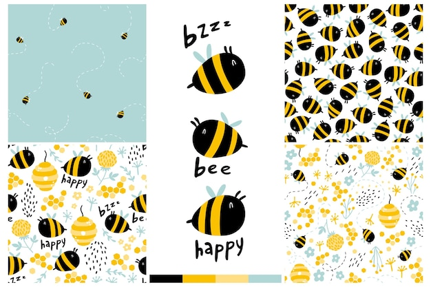 Bees seamless pattern set. cartoon childish hand-drawn illustration with funny letters, words.