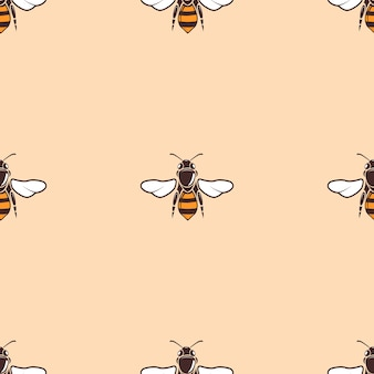 Bees vector seamless background in beige