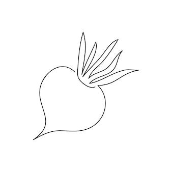 사탕무 연속 선 그리기. 뿌리, 식물, 야채의 한 라인 아트. 손으로 그린 벡터 일러스트 레이 션.