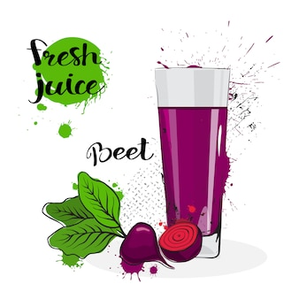 Beet juice fresh hand drawn watercolor vegetable and glass on white background