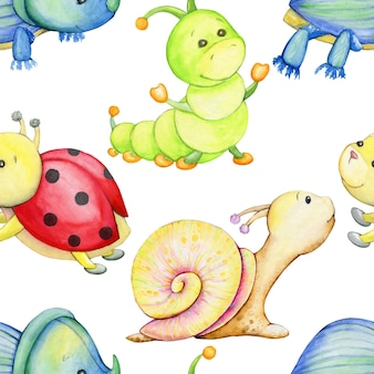 Beetle, caterpillar, snail, ladybug. watercolor seamless pattern, on an isolated background, in a cartoon style. Premium Vector
