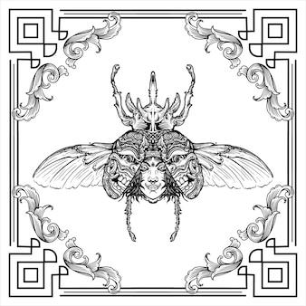 딱정벌레 조각 날개에 얼굴과 마스크가있는 사슴 딱정벌레 손으로 그린 그림 디자인