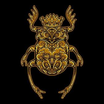 Beetle golden engraving ornament