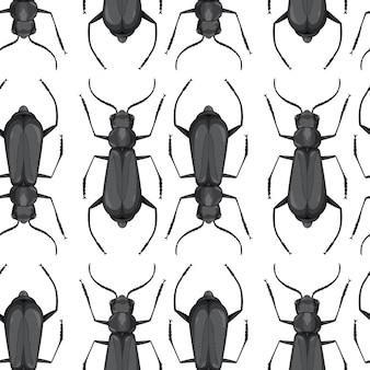 カブトムシ昆虫シームレス背景