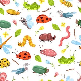 カブトムシのパターン。孤立したバグ、てんとう虫トンボ、赤ちゃんのテキスタイルデザイン。かわいい野生の昆虫の背景。花の森のベクトルのシームレスなテクスチャ。てんとう虫とトンボ、虫虫とカブトムシのイラスト