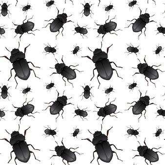 Beetle on seamless pattern