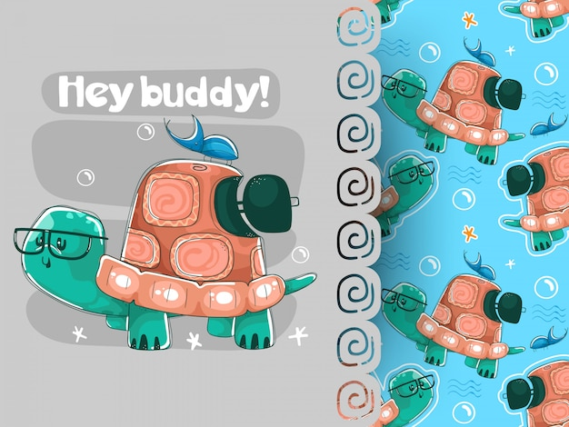 Beetle and turtle best friends vector illustration and pattern