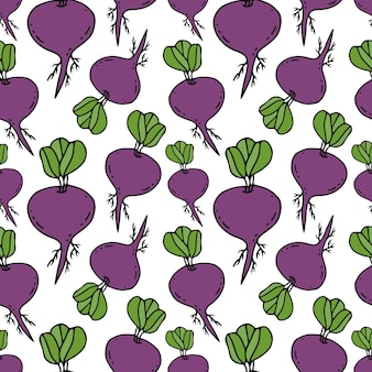 Beets seamless pattern. root vegetables background.