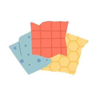 밀랍 패브릭 식품 랩. 지속 가능한 주방과 제로 웨이스트 라이프 스타일. 에코 생활 개념입니다. 벡터 만화 그림입니다.