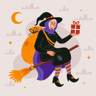 Befana in design piatto