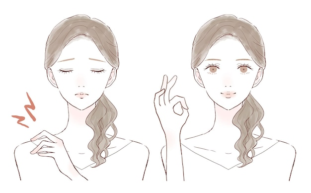 어깨 결림으로 고생하는 여성의 전후. 흰색 배경에.
