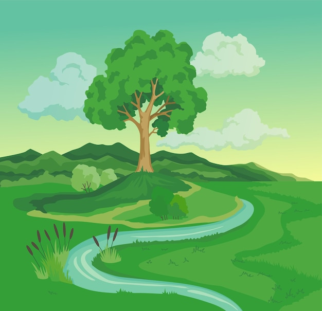 Before climate change desertification illustration.