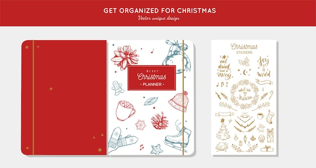 메리 크리스마스 주최자 전에 손으로 그린 삽화와 손으로 쓴 서예가있는 플래너.