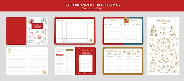 Before merry christmas organizer, planner with hand drawn illustrations and handwritten calligraphy