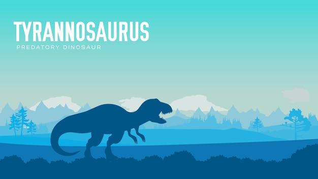 Before our era earth design. dinosaur tirex in its habitat. jungle prehistoric creature in nature